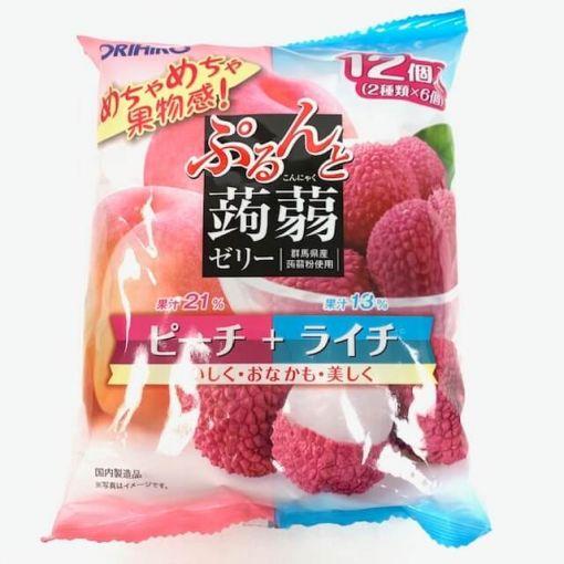 ORIHIRO / KONJAK JELLY PEACH + LYCHEE BAG 12P 20gx12